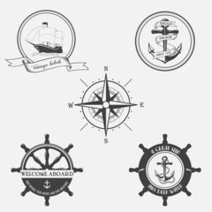Set of vintage pattern on nautical theme.