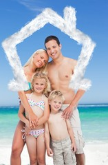Composite image of happy family on the beach