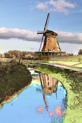Dutch windmill in Zaanse Schans, Amsterdam area, Holland