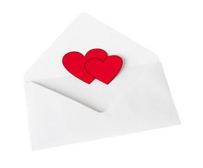 Scarlet heart in a white envelope