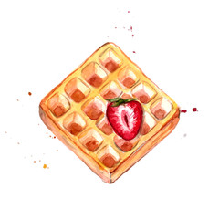 Belgian waffle with red strawberry watercolor illustration.