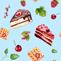 Watercolor pastry seamless pattern