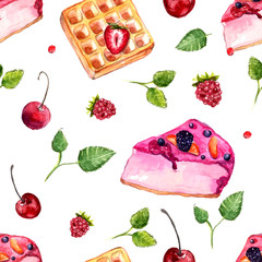 Watercolor desserts and berries seamless pattern
