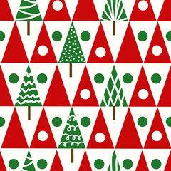 Seamless vector christmas pattern christmas trees whinter geomet