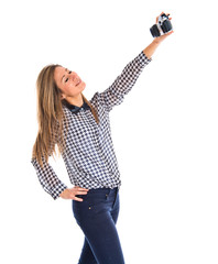 Woman making a selfie