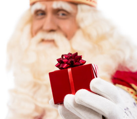 Santa Claus showing gift