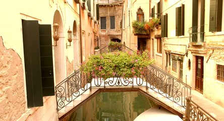 Beautiful Flower Bridge Venice Canal Vacation Italy Summer