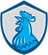 Chicken Rooster Head Crowing Shield Retro