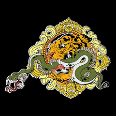 Great tiger head with snake on black