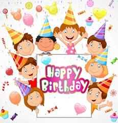 Birthday background with happy children