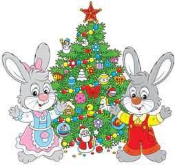 Little Rabbits and Christmas Tree