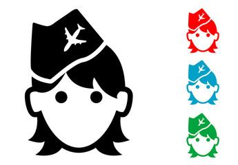 Pictograma icono azafata con varios colores