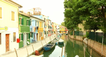 Italy Travel Summer Venice Canal Burano Colorful Vintage House