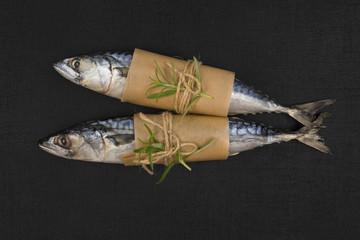 Two fresh mackerel fish.