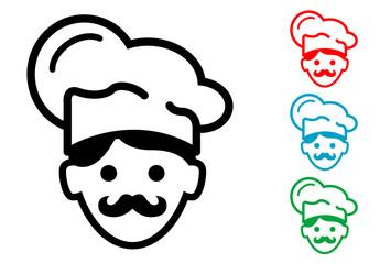 Pictograma icono cocinero con varios colores