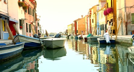 Venice Canal Boats Colorful Architecture Travel Tourism Concept