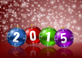 2015 new years vector illustration with christmas balls