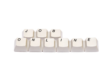 Words job online from computer keyboard buttons isolated