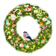 Green christmas wreath with decorations. EPS 10