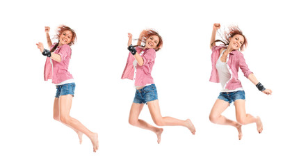 Woman jumping over isolated white background