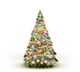Christmas tree isolated on white. EPS 10