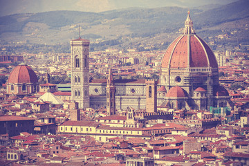 Vintage filtered picture of Florence old town, Italy.