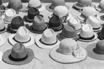 Hat display at an outdoor market