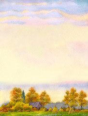 Watercolor background with autumn landscape