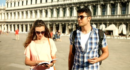 Couple Tourists Man Woman Vacation Italy Venice San Marco Travel