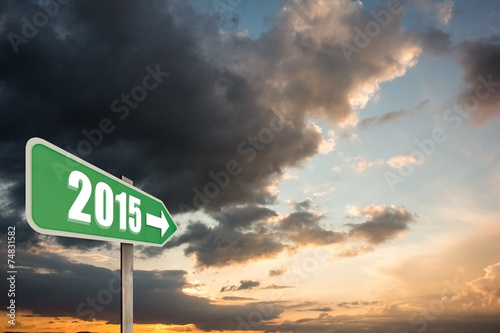 canvas print picture Composite image of 2015 in bold grey