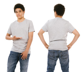 Teenage male wearing blank grey shirt