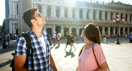 Travel Italy Venice Romantic Couple Tourists Looking Directions