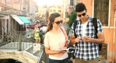 Romantic Tourism Couple Taking Selfie Venetian Bridge Holyday