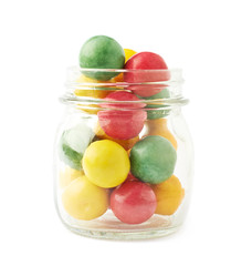 Multiple chewing gum balls in a jar