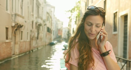 Beautiful Young Woman Talking Smart Phone Travel Venice Canal