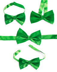 Green bow tie isolated