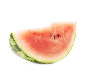 Single slice of a watermelon fruit isolated