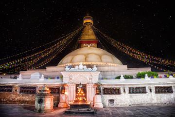 Bodhnath stupa at night