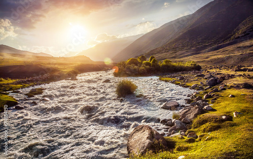 canvas print picture Mountain river