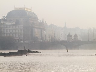 National Theatre in Prague in morning mist