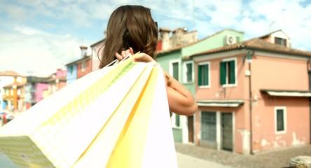 Beautiful Italy Woman Happy Fashion Female Stylish Shopping Bags