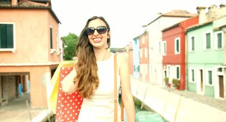 Fashion Lifestyle Beautiful Woman Shopping Europe Vacation