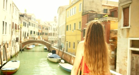 Beautiful Young Woman Red Dress Vacation Travel Venice Italy