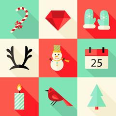 9 Christmas Flat Icons Set 3