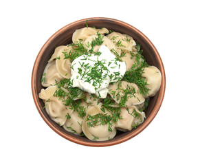 dumplings with fresh herbs and sour cream in a clay plate isolat