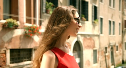 Beautiful Fashion Female Model Red Dress Travel Vacation Italy