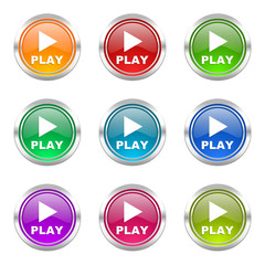 play colorful vector icons set