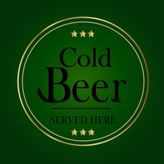 Beer Sign with Gold and Green