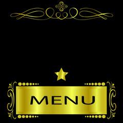 Black and Gold Menu Cover for a Elegant Restaurant