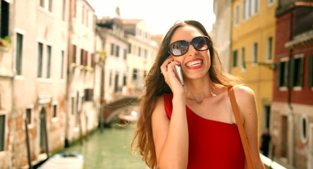 Stylish Fashion Model Talking Cell Phone Vacation Europe Smiling